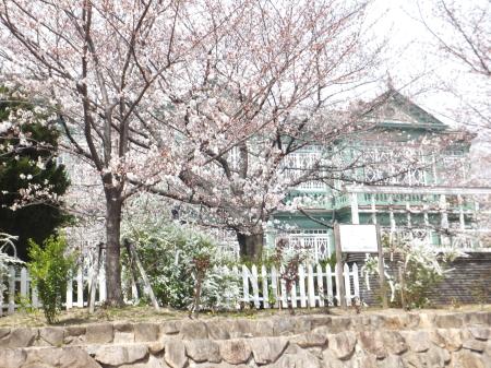 「王子動物園」の旧ハンター邸と桜