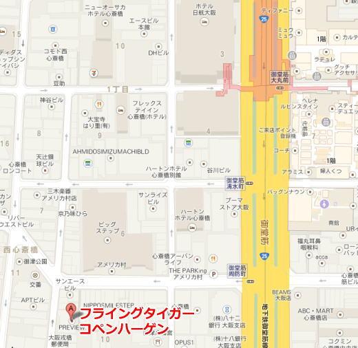 フライングタイガー心斎橋地図