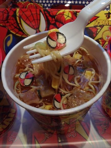 スパイダーマンのカップめん「すぱいだぁ麺!!」