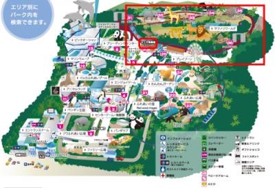 アドベンチャーワールド・ケニア号乗り場マップ