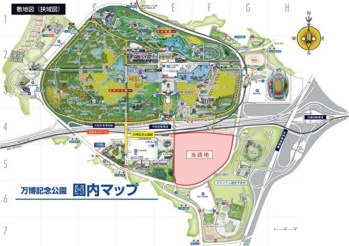 (仮称)エキスポランド跡地複合施設開発事業周辺地図