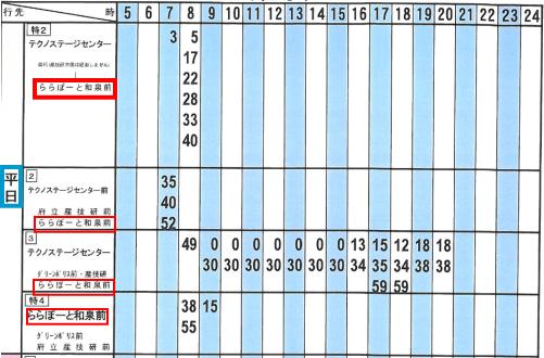 和泉中央駅からららぽーと和泉バス時刻表