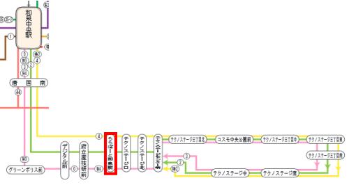 和泉中央からららぽーと和泉バス路線図