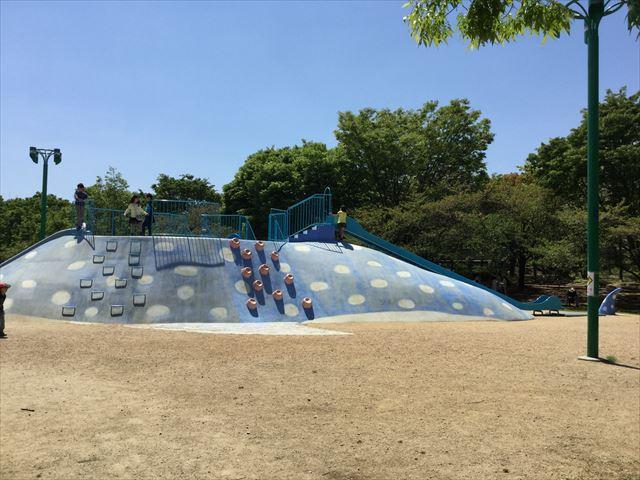 大阪「八幡屋公園」ジンベイザメ遊具、クライミング&ふじつぼ登り、横全体を撮影