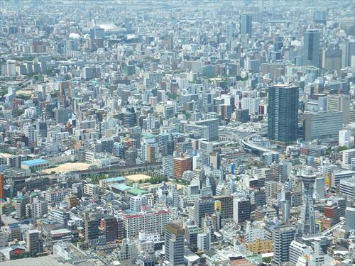 ハルカス300からの眺め・通天閣と大阪ドーム