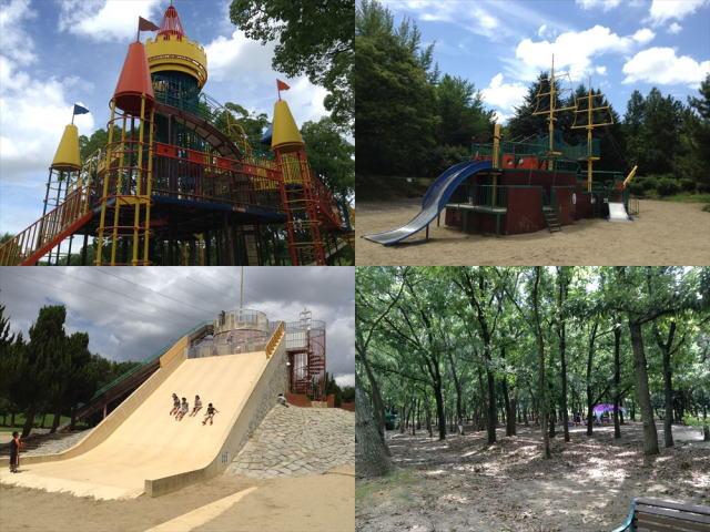 大泉緑地の遊具(わんぱくランド、海遊ランド、冒険ランド)と自然の森