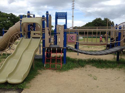 大泉緑地の大型遊具公園③「冒険ランド」中型滑り台