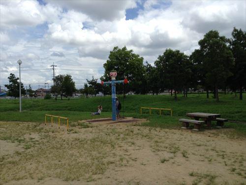 大泉緑地の大型遊具公園③「冒険ランド」ブランコ