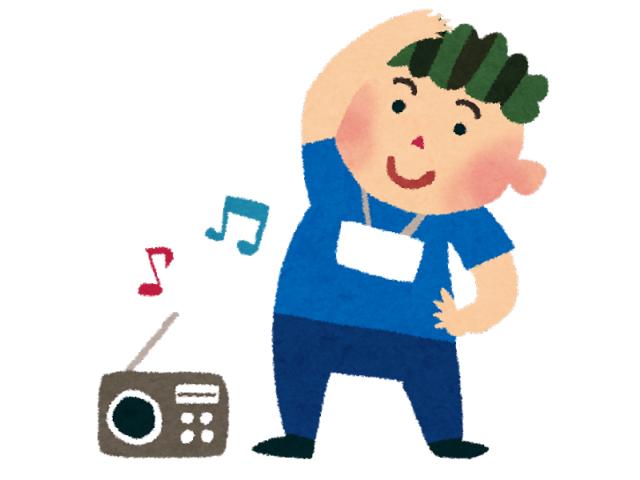 ラジオ体操をする大人