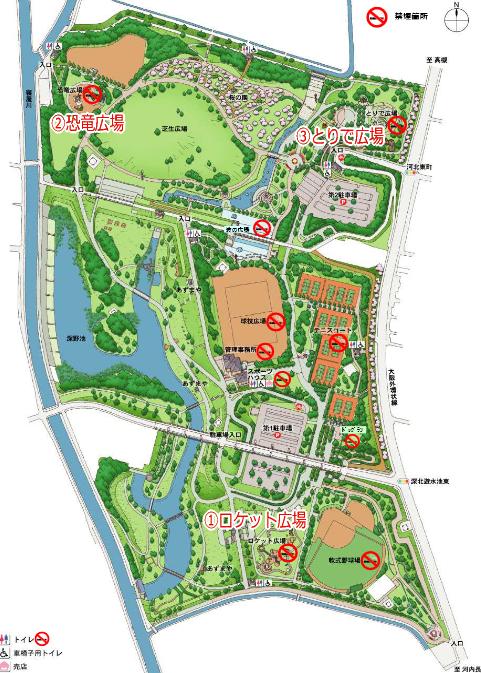 深北緑地地図(ロケット広場・恐竜広場・とりで広場)