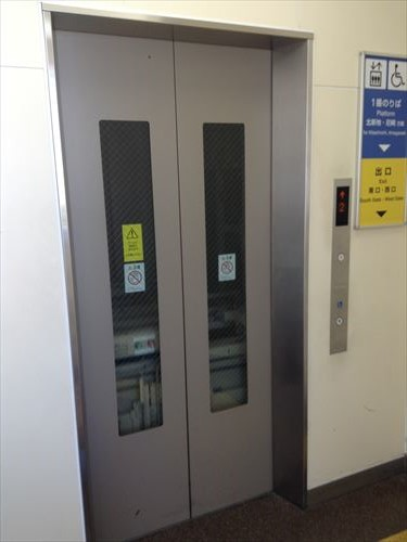 JR東西線(学研都市線)1番乗り場・大阪尼崎方面行きホーム行きエレベーター