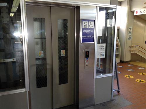 学研都市線京橋駅・木津方面行きエレベーター