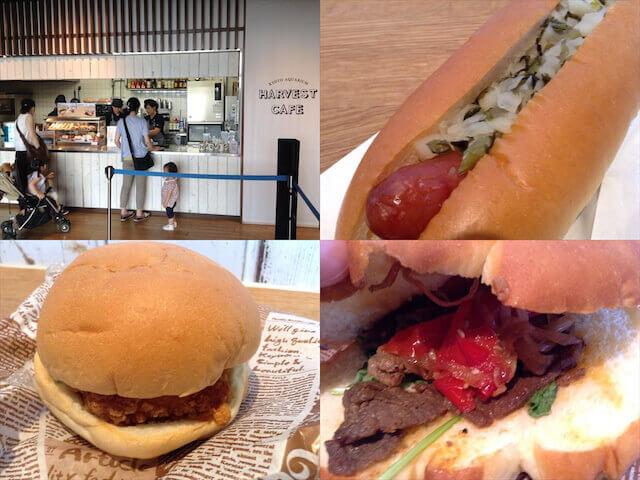 京都水族館ハーベストカフェ(入口、京漬物ドッグ、九条ねぎのてっぱいチキンバーガー京野菜恐竜バーガー)