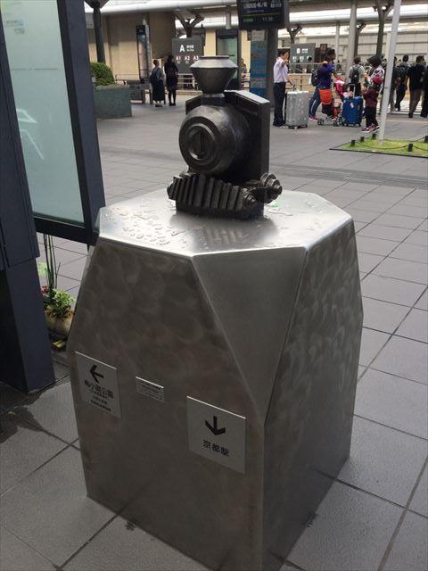 京都駅から京都鉄道博物館への道順を教えてくれるオブジェ(蒸気機関車)