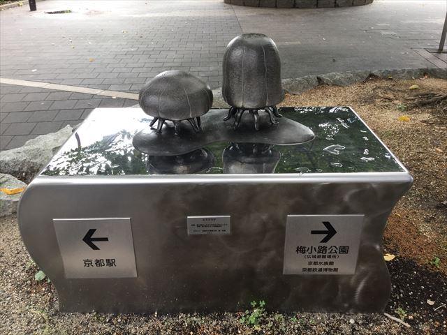 京都駅から京都鉄道博物館への道順を教えてくれるオブジェ(クラゲ)