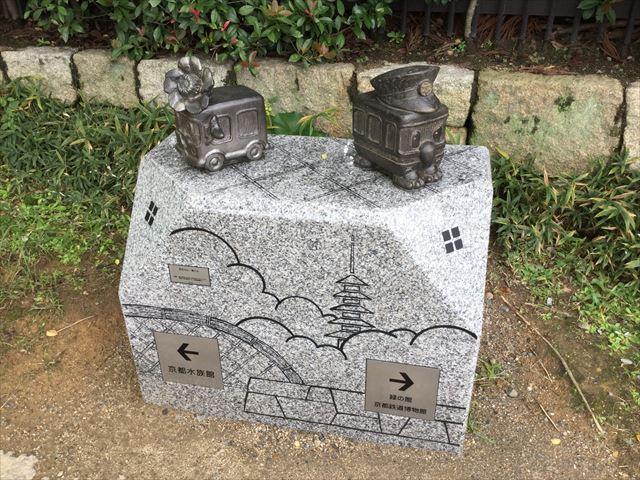 京都駅から京都鉄道博物館への道順を教えてくれるオブジェ(京ちゃんと都くん)