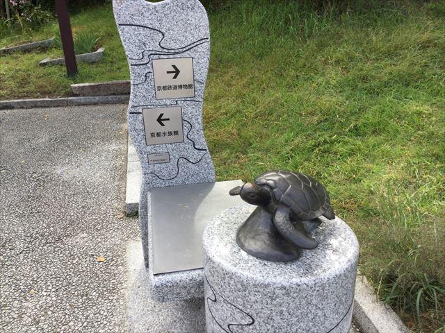 京都駅から京都鉄道博物館への道順を教えてくれるオブジェ(カメ)