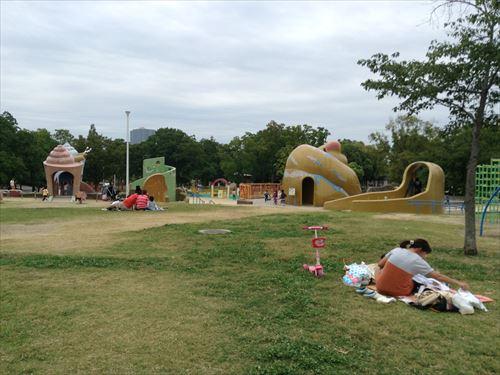 久宝寺緑地・まいまい広場・芝生から