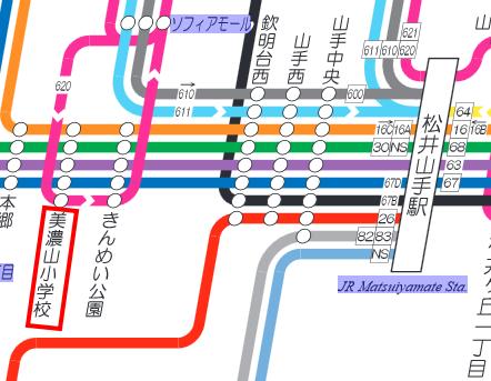 松井山手駅から京阪バスマップ