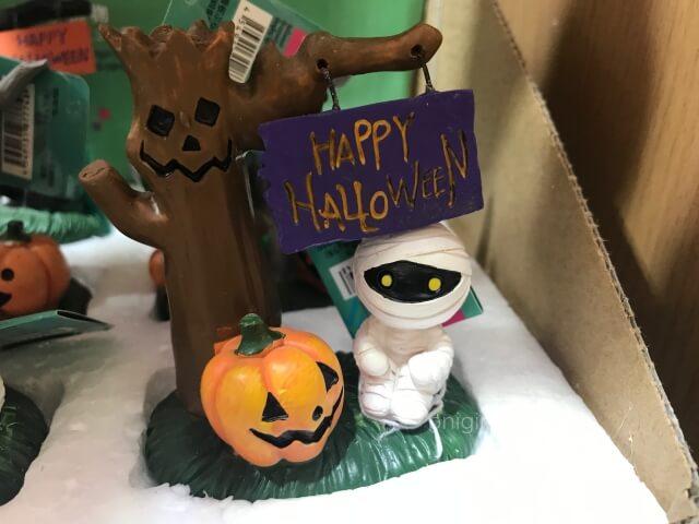 ダイソーのハロウィングッズ「木とかぼちゃ、ミイラの置物」