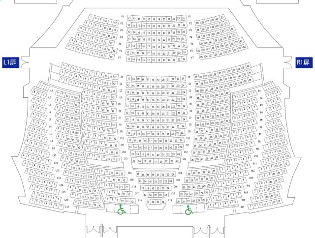 NHK大阪ホール1階座席表