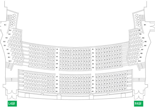 NHK大阪ホール2階席座席表