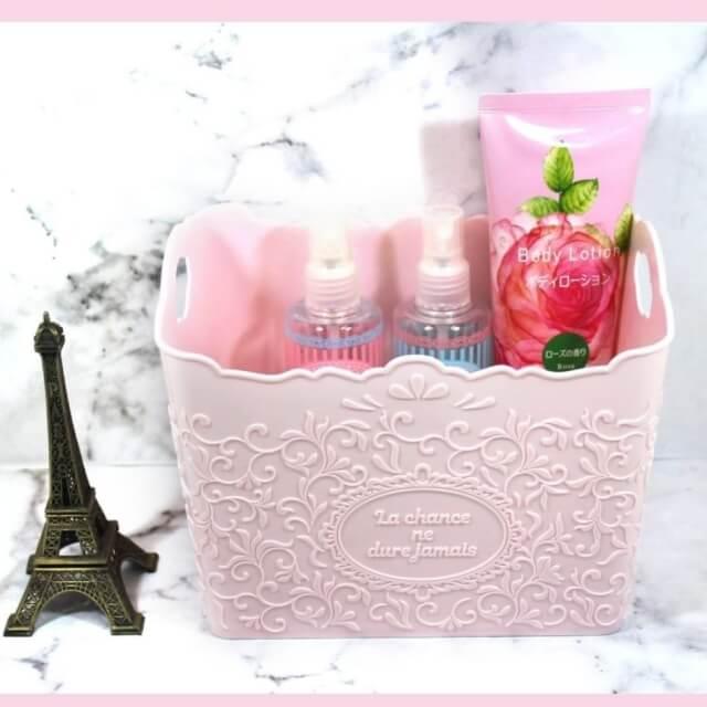 ダイソー「収納グッズ2020」薄いピンクで花模様もかわいい収納バスケット