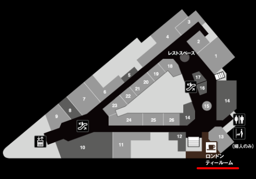 ロンドンティールーム・阪急メンズ館4階フロアーマップ