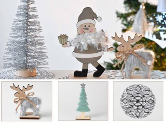 セリアクリスマスグッズ2020年新作・シックなサンタクロース、ツリー、トナカイ、雪の結晶