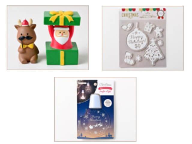 セリアクリスマスグッズ2020年新作・サンタ・トナカイの置物、壁掛けアクリルライト、ラメプリント付きデコジェル