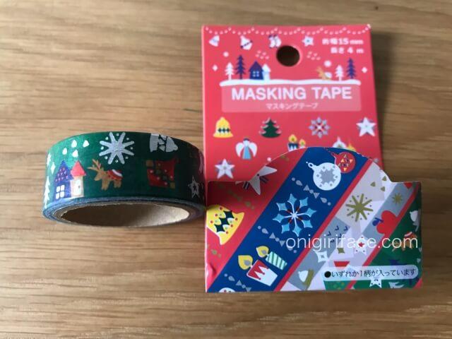 100均セリア「クリスマスツリー柄のマスキングテープ」
