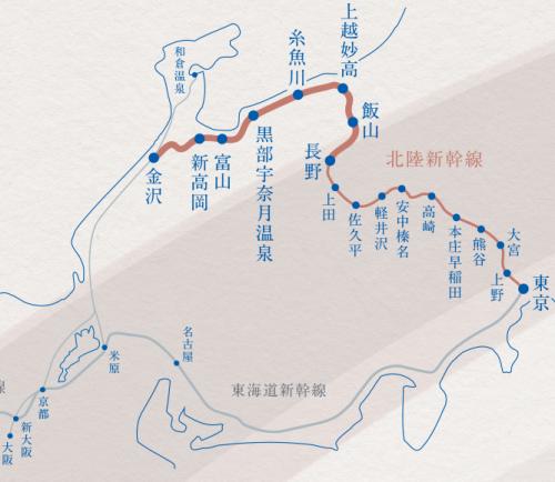 北陸新幹線停車マップ