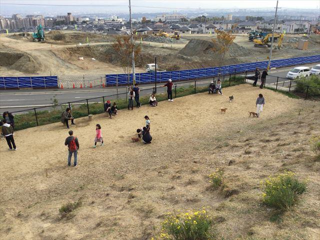 「彩都なないろ公園」ドッグランを丘の上から撮影
