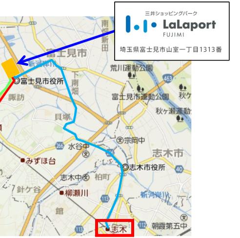 「志木駅~ららぽーと富士見」東武バスマップ