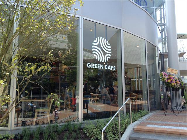 「森ノ宮キューズモールBASE」グリーンカフェの入口の様子