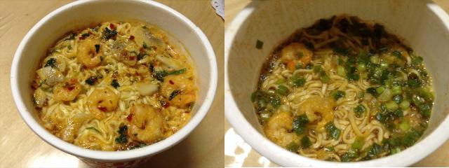 日清カップヌードル「トムヤムクンヌードル」日本版とタイ輸入版を比較・お湯を注いだ後の様子