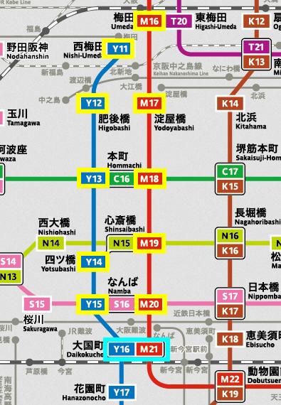 大阪メトロ(地下鉄)御堂筋線&四つ橋線の地図