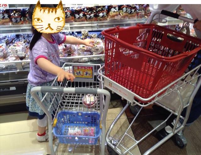 スーパーのお手伝いカートに商品を入れている様子