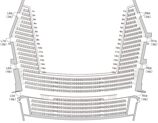 「ウエスタ川越」座席表3階席