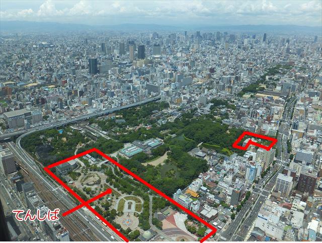 天王寺公園「てんしば」をハルカス300より撮影