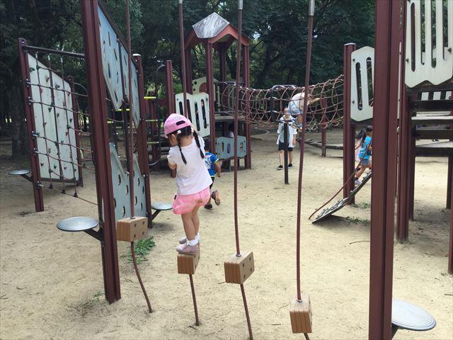「児童の森」大仙緑地公園の遊具5アスレチック型(幼児後半~小学生向け)