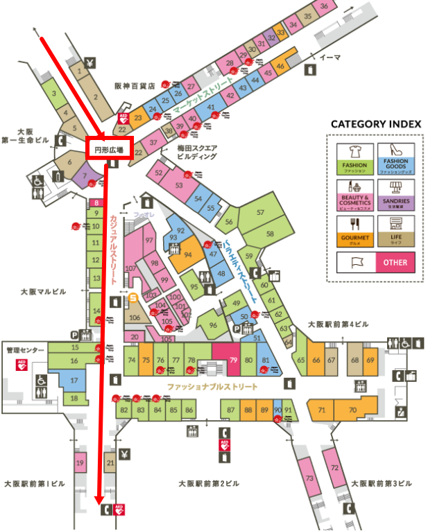 ディアモール大阪のフロアーマップ