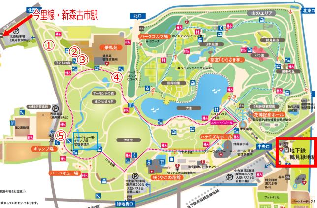 「花博記念公園鶴見緑地」遊具公園5箇所マップ