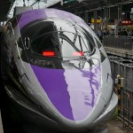 「エヴァンゲリオン新幹線(エヴァ新幹線)」新大阪駅20番ホームに到着