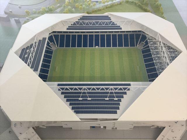 ガンバ大阪新スタジアム(市立吹田スタジアム)内を見学。模型