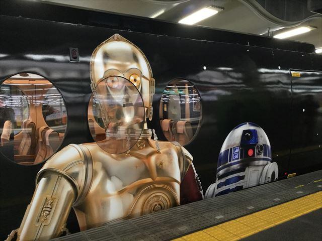 南海特急「スターウォーズ・ラピート」難波駅に到着・C-3PO・R2-D2