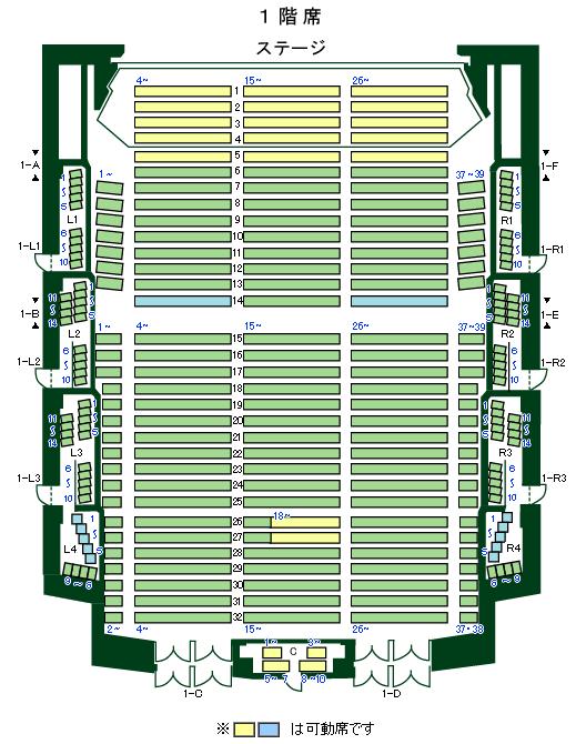 「松戸・森のホール21」1階席座席表