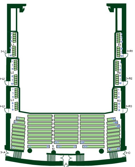 「松戸・森のホール21」3階席座席表
