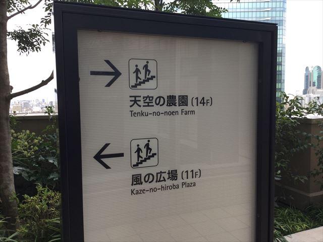 大阪ステーションシティ14階「天空の農園」に行く案内図