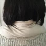 「ハネリOC玄米あんか タマ」を首の後ろに置いた様子
